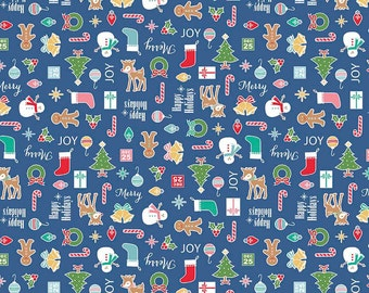SPRING SALE - 4 1/2 yards - Cozy Christmas - Main in Navy - C5360 - Riley Blake Designs - Lori Holt
