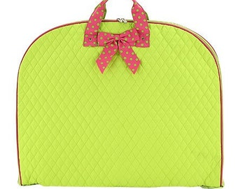 Personalized Quilted Garment Bag Dance Ballet Cheer Lime/Pink