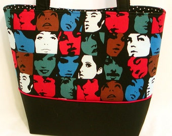 IN CROWD Ladies' TOTE Bag Mod 1960's Retro Print Warhol Style Fabric Purse Celebrities Silhouettes Black Red Blue