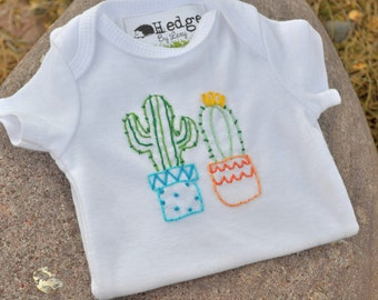 Cactus Hand Embroidered Baby Bodysuit. Plants are Friends