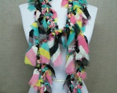 GladRagz Circle of Chains Necklace Scarf in Black Turquoise Pink Yellow Tan Chiffon Ready to Ship Infinity Circle Shredded Knotted Scarf
