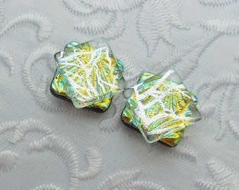 Silver Earrings - Dichroic Fused Glass Post Earrings - Dichroic Stud Earrings - Friendship Jewelry - Post Earrings X1475