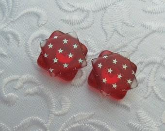 Red White Blue Earrings - 4th Of July - Stars - Flag - Dichroic Fused Glass Post Earrings - Stud Earrings - Dichroic Earrings X1348