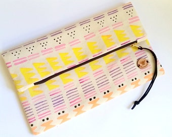 Painted Clutch in Heavy Canva, Vibrant Colors Geometric Zipper Clutch Ladies Bag Flat or Fold Over - Tribal