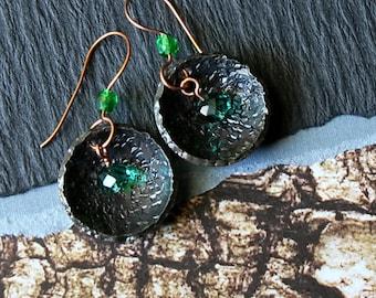 Small Tribal Earrings, Hippie Tribal Earrings, Tribal Bohemian, Boho Hammered Earrings, Boho Rustic Jewelry
