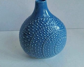 Teal Andrea Vase by Sadek Peacock Feathers