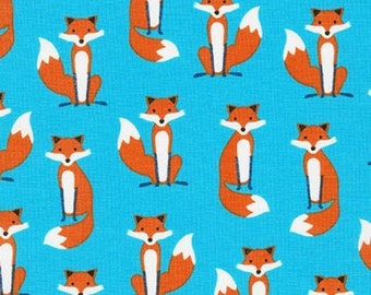 Fabulous Foxes Fabric - Robert Kaufman Fabric - Small Blue Foxes Fabric - Andie Hanna Fabric - Fox Quilt Fabric - Fox Cute Fabric