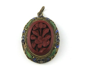 Vintage Chinese Gold Gilt Filigree Sterling Ornate Cinnabar Enamel Pendant