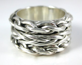 Ring, Size 5.75, Mexico, CII, Sterling Silver, Triple Rope Pattern, Vintage Sterling Ring Band