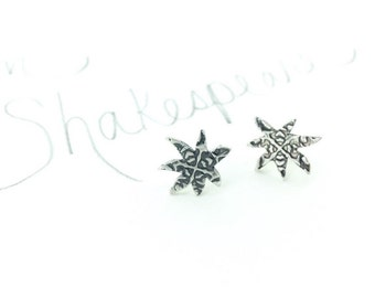star post earrings .  Sirius rose engraved stud earring . recycled sterling silver earrings . small post earring . ready to ship gift
