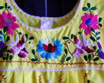 Child Mexican Dress, Girl Mexican dress, Yellow Mexican dress, Youth Mexican dress, size juvenile, est. size 14