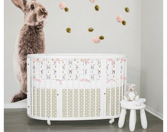 Stokke Sleepi Bedding 3pc set with Italian Oeko-Tex trim - Bunnies & Gold - Ready To Ship (RTS)