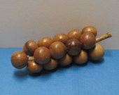 Wooden Grapes Wooden Fruit Vintage Carved Wood Bunch of Grapes Tropical Island Souvenir