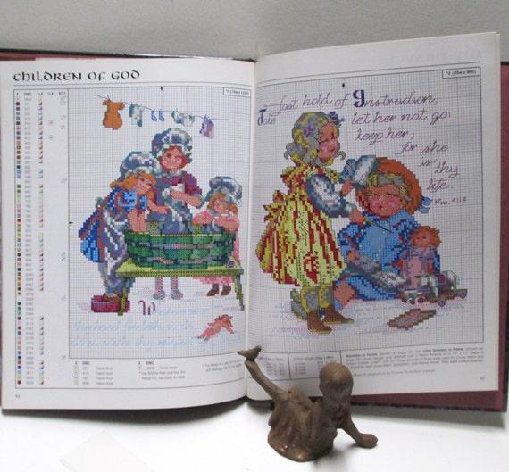 Book Cover Craft Noah ~ Cross stitch pattern book diy vintage baby wedding prayers