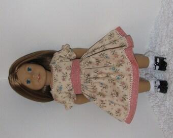 Tan and Apricot Civil War Walking Dress, Fits 18 Inch American Girl Dolls