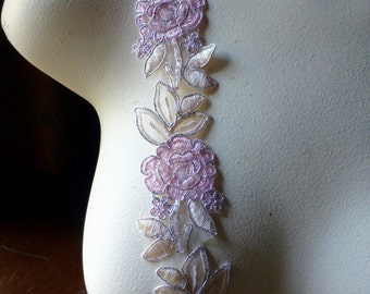 "18"" Pink & Ivory Beaded Trim for Lyrical Dance, Bridal, Costume  Design, Crafts TR 250"