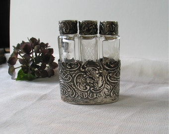 Antique Perfume Bottle Set in Sterling Repousse Case with Three Nesting Etched Glass Bottles