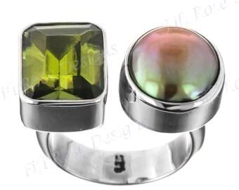 Cool Peridot Biwa Pearl 925 Sterling Silver Sz 7.5 Ring