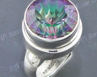 Round 11ct Rainbow Mystic Topaz 925 Sterling Silver Sz 6 Ring