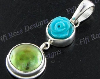 """1 1/2"""" Turquoise Biwa Pearl 925 Sterling Silver Pendant"""