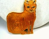 Orange Tabby Cat Pin,  Gold Metal Feline Brooch 1980s, Cloisonne Enameled in Golden Brown