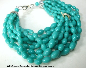 LONG Turquoise Bracelet, 10 Strands Graduated Oval Glass Beads, from Japan 1960s Unused, LONG 8.5 Inches, Silver Catch