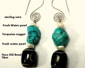 Turquoise Nugget Earrings, Sterling Wires, White Freshwater Pearls, Black Faux Tibetan DZI Beads, OOAK, .Pierced Long Dangles