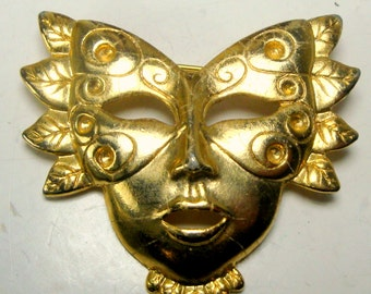 Masked Woman Pin,  Gold Fantasy Brooch, Butterfly Face, Mardi Gras Fairy Face, 1980s