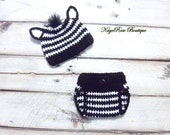 Newborn to Three Month Old Baby Crochet Striped Zebra Hat and Diaper Cover Set Black and White