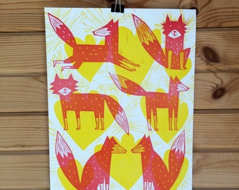 Letterpress Fox Love Tumbleweed Print