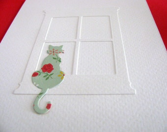 Curious Cat Sitting on Windowsill Creamy Ivory Card as Shown or YOUR Choice of Colour for the Cat. A2 size. Made to Order