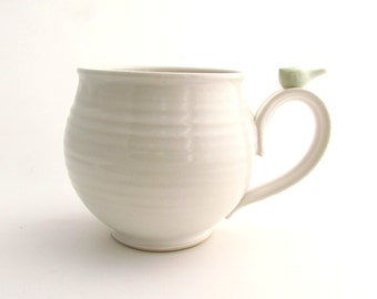 Large Handmade Mug in White with a Celadon Bird