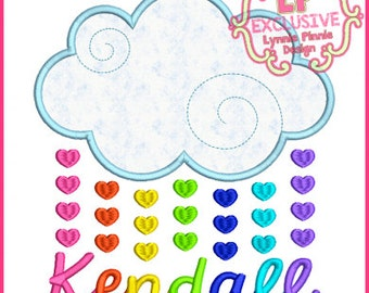 Heart Raindrops Cloud 4x4 5x7 6x10 7x11  Machine Embroidery Design