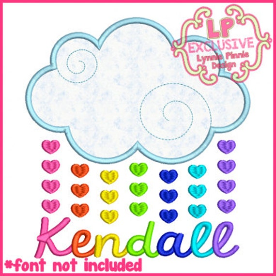Heart raindrops cloud 4x4 5x7 6x10 7x11 machine embroidery for 7x11 bathroom layouts