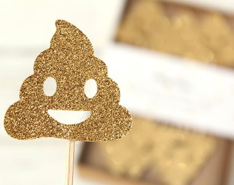 Poop Emoji Gold Glitter Cupcake Toppers - Set of 12