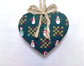 Christmas Heart Ornament | Winter Decor | Party Favor | Tree Ornament | Holidays | Decoration | Fabric Heart | Handmade | Christmas Decor #1