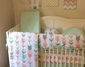 DEPOSIT Peach Gray and Mint Arrows Ruffled Crib Bedding Set