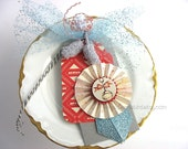 Train Railroad Handmade Gift Tag~Boy Baby Shower Gift~One of a Kind gift tag~Red~Blue~Turquoise~Gift Bag Swag~Pretty Packaging