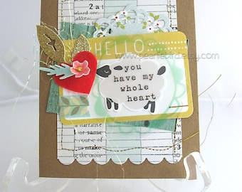 You Have My Whole Heart Handmade Card~lamb~red heart~anniversary card~unique card~baby card~red~aqua~yellow