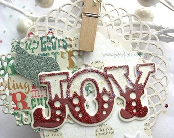 Red, Green and Gold JOY Collage Deluxe Gift Clip On Angel Wing Embellishment Decoration, Christmas Ornament, Gift Topper, pretty packaging