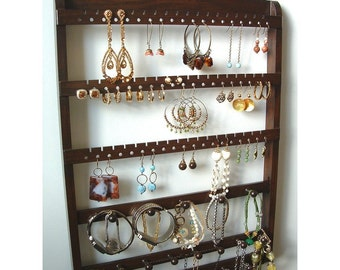 Jewelry Organizer Earring Holder, Wall Mount, Bracelet Storage Necklace Display, Solid Oak Hardwood, Lovely Cocoa Brown Stain