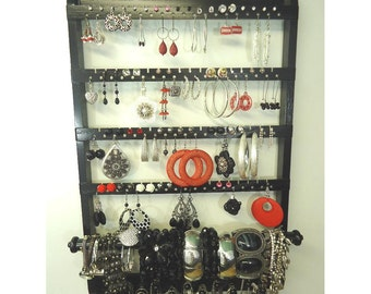 Post Earring Storage, Bangle Bracelet Holder, Elegant Jewelry Organizer, Earring Rack, Necklace Display, Oak Hardwood, Holds Stud Earrings