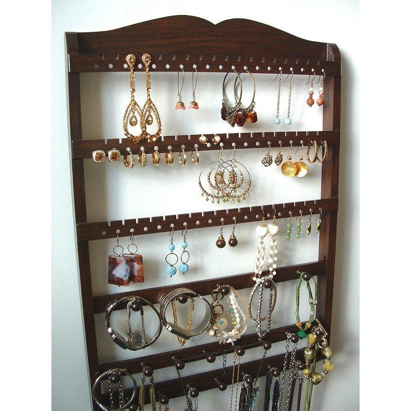 Jewelry Organizer Wall Jewelry Holder And Organizers On: Jewelry Organizer Earring Holder Wall Mount Bracelet Storage