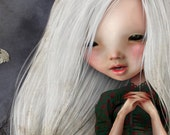 5x7 Art Print - 'Pelottava' - Little Vampire girl in graveyard - Small Sized Fine Art Giclee Print - Jessica von Braun- Dark Art Creepy cute