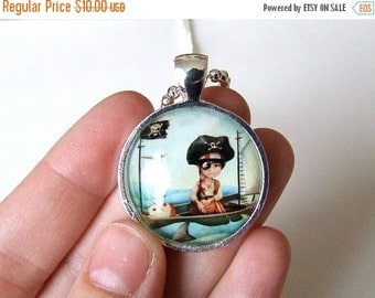 "SUMMER SALES EVENT Art Necklace - ""Diego"" - Little Pirate Boy - Real Glass Pendant and Chain -  1 inch Sized with Organza Bag"