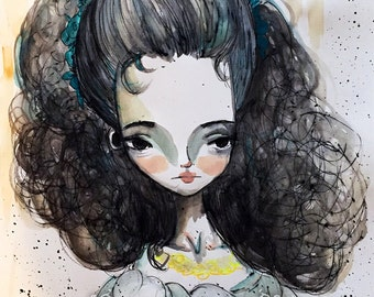 "ACEO ATC - ""Sarah"" - Artists Trading Card - Mini Fine Art Print - 2.5x3.5"" - Little dark haired girl - Watercolor print by Jessica Grundy"