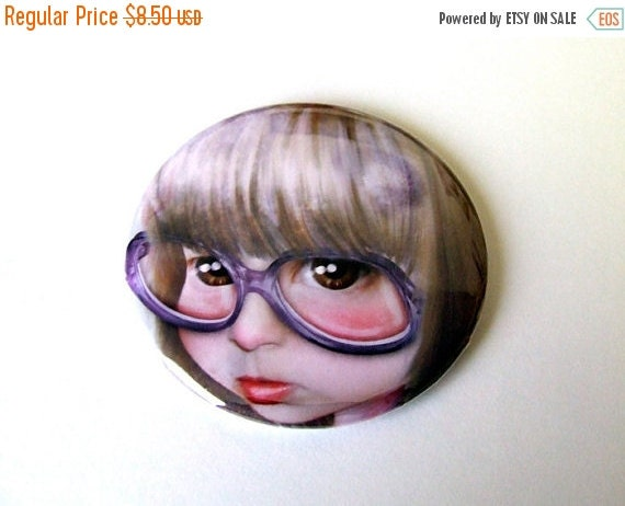 """SUMMER SALES EVENT Pocket Mirror """"Imperfect - Portrait of the Artist as a Child"""" 2 1/4"""" - Little Girl Huge Glasses"""