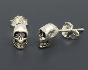 Maleficent skull stud earrings, men's stud earrings, cartilage earring, tiny skull, sterling silver stud earrings,  gift for him,   467