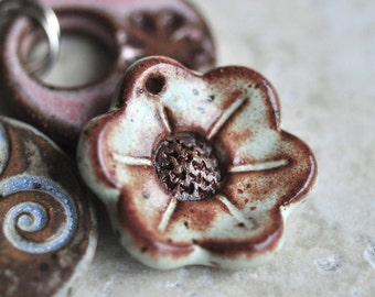 Little Flower Ceramic Pendant in Pistachio Mint Glaze with Sepia Tones, made from stoneware clay, for your feminine side, focal bead