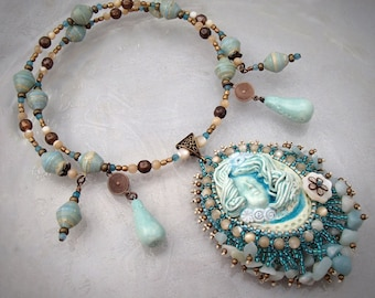 "Bead Embroidery Pendant Necklace - ""Cordelia"" Aqua Fairy Face Clay Cabochon"